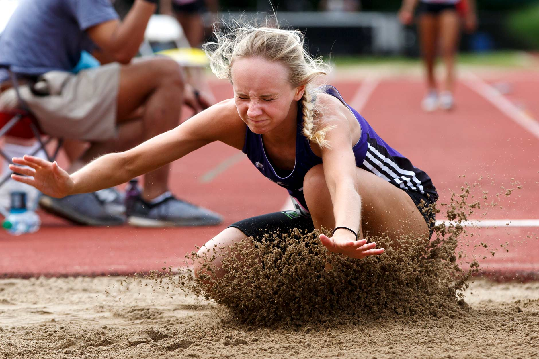 Bloomington South's Faye Bryan competes in the long jump during the IHSAA Girls Track and Field State Finals in Bloomington, Indiana on Saturday, June 1, 2019. (James Brosher for The Herald-Times)