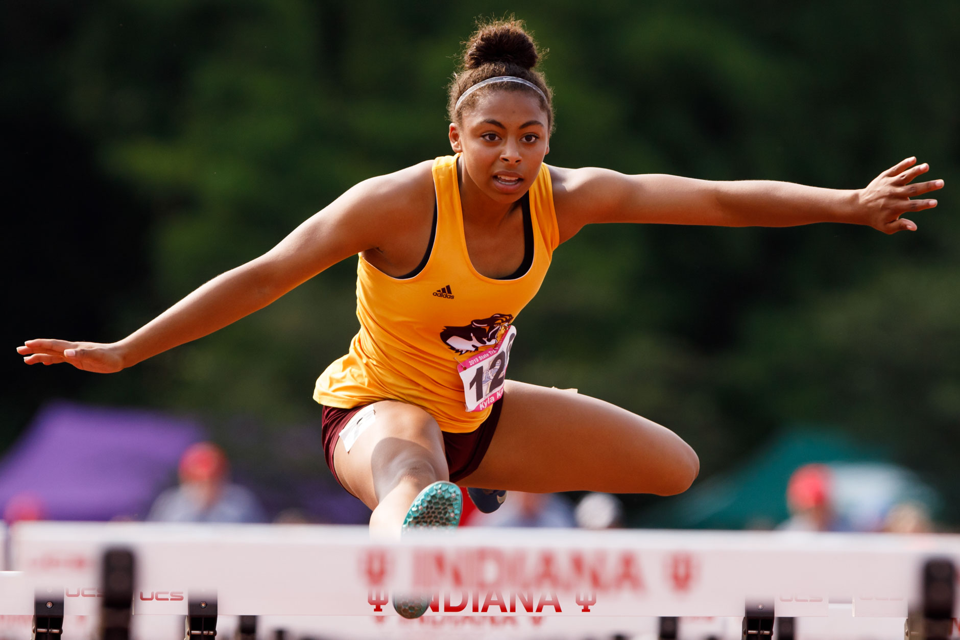 Bloomington North's Kyla Kante competes in the 100 meter hurdles during the IHSAA Girls Track and Field State Finals in Bloomington, Indiana on Saturday, June 1, 2019. (James Brosher for The Herald-Times)