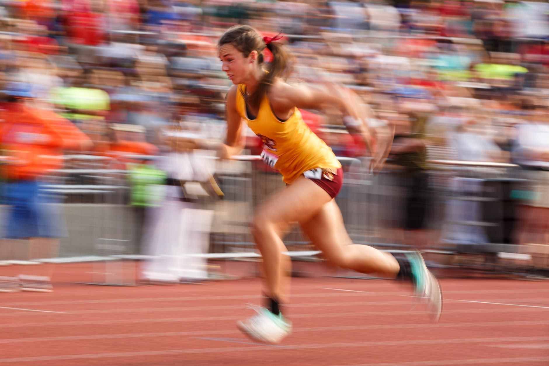 Bloomington's Taylor Storm competes in the 4x100 meter relay during the IHSAA Girls Track and Field State Finals in Bloomington, Indiana on Saturday, June 1, 2019. (James Brosher for The Herald-Times)