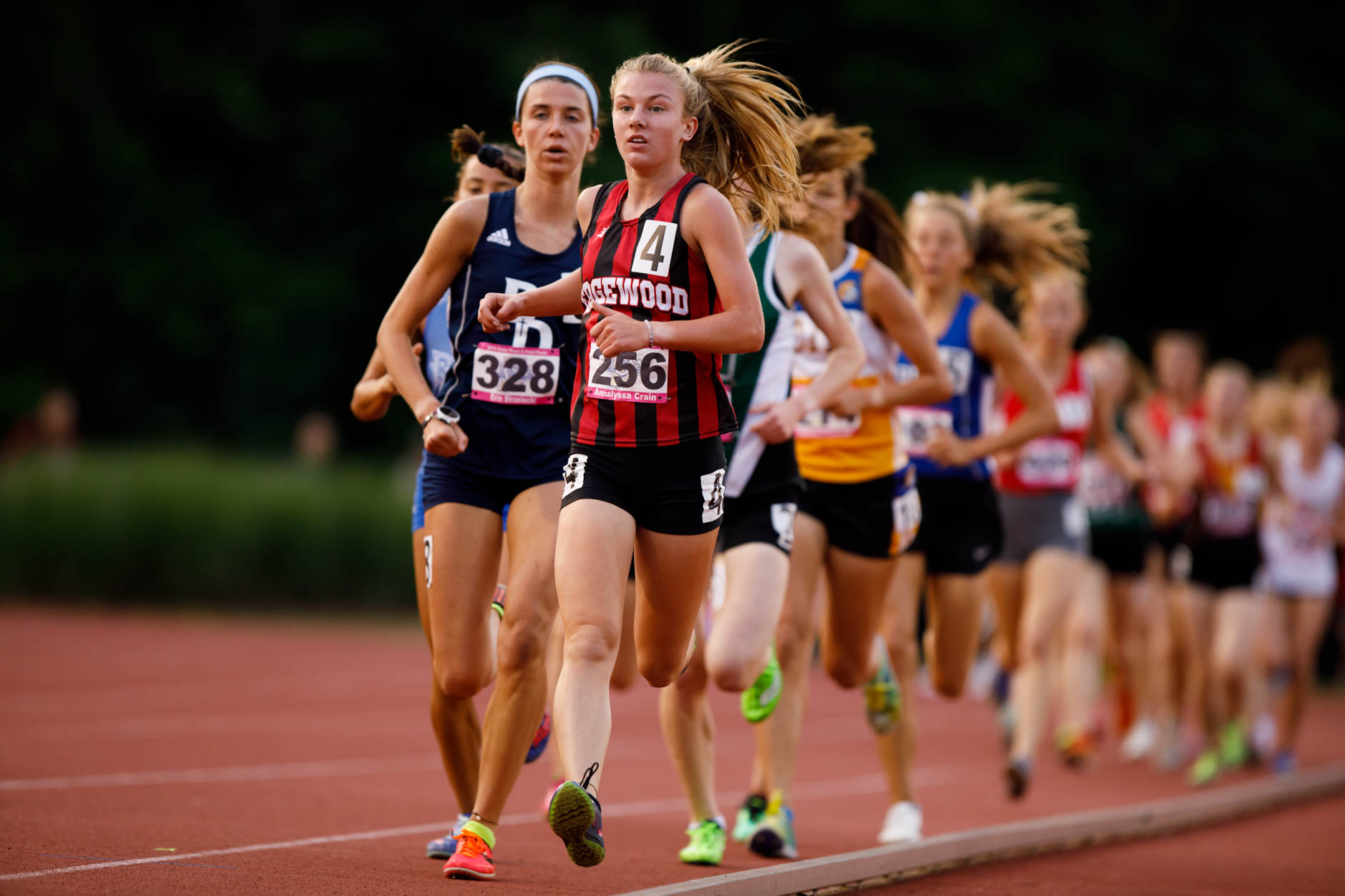 Edgewood's Annalyssa Crain leads the pack early in the 3200 meter run during the IHSAA Girls Track and Field State Finals in Bloomington, Indiana on Saturday, June 1, 2019. (James Brosher for The Herald-Times)