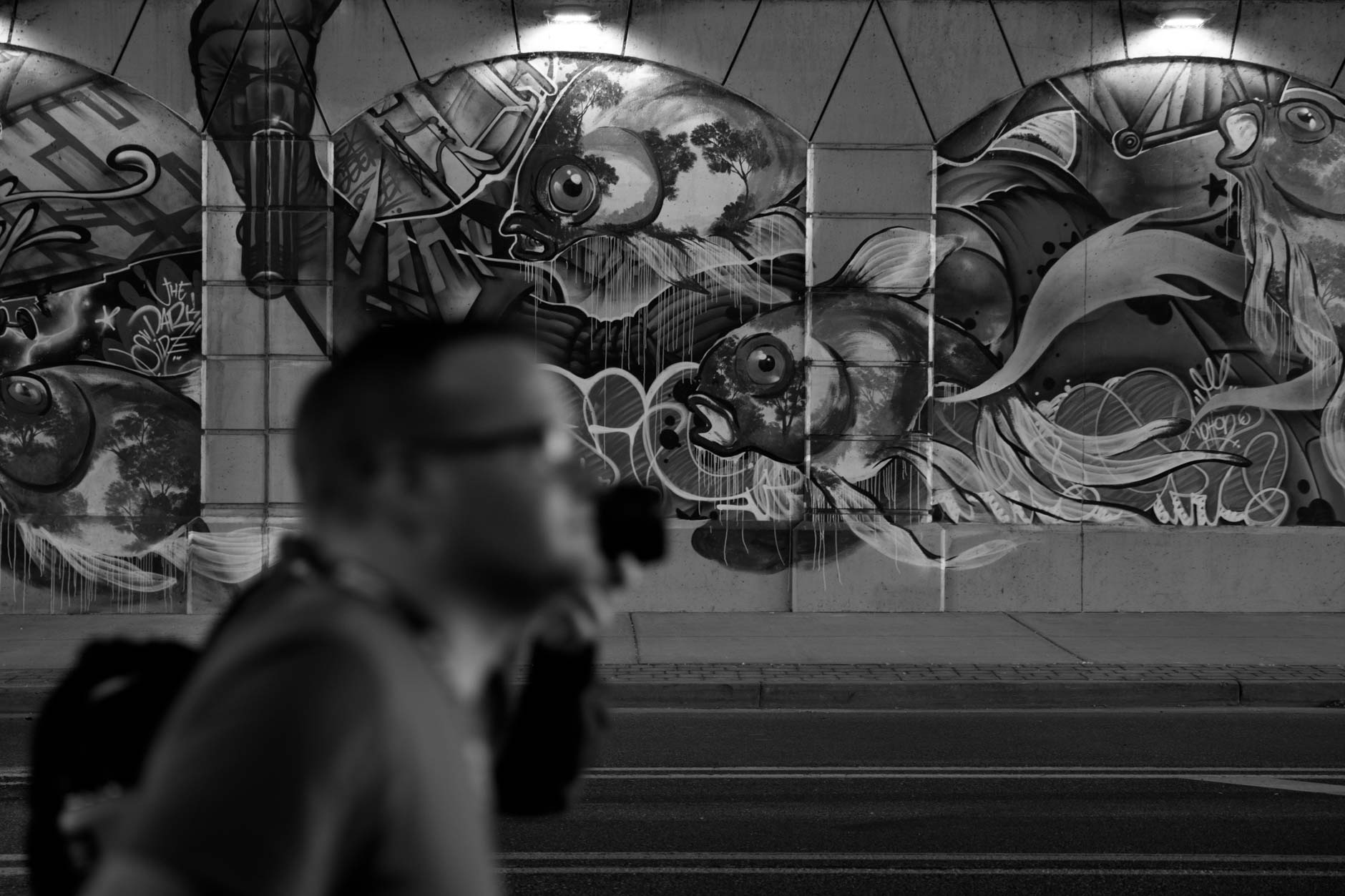 Symposium participants walk past a mural under an Interstate overpass during the 2019 University Photographers' Association of America Symposium in Grand Rapids, Michigan on Tuesday, June 18, 2019.