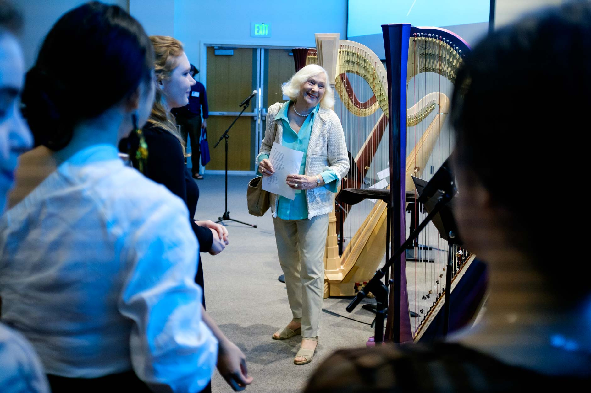 USA International Harp Competition Founder and Artistic Director Susann McDonald speaks with Composition Forum performers before the forum at the 11th USA International Harp Competition at Indiana University in Bloomington, Indiana on Monday, July 8, 2019. (Photo by James Brosher)
