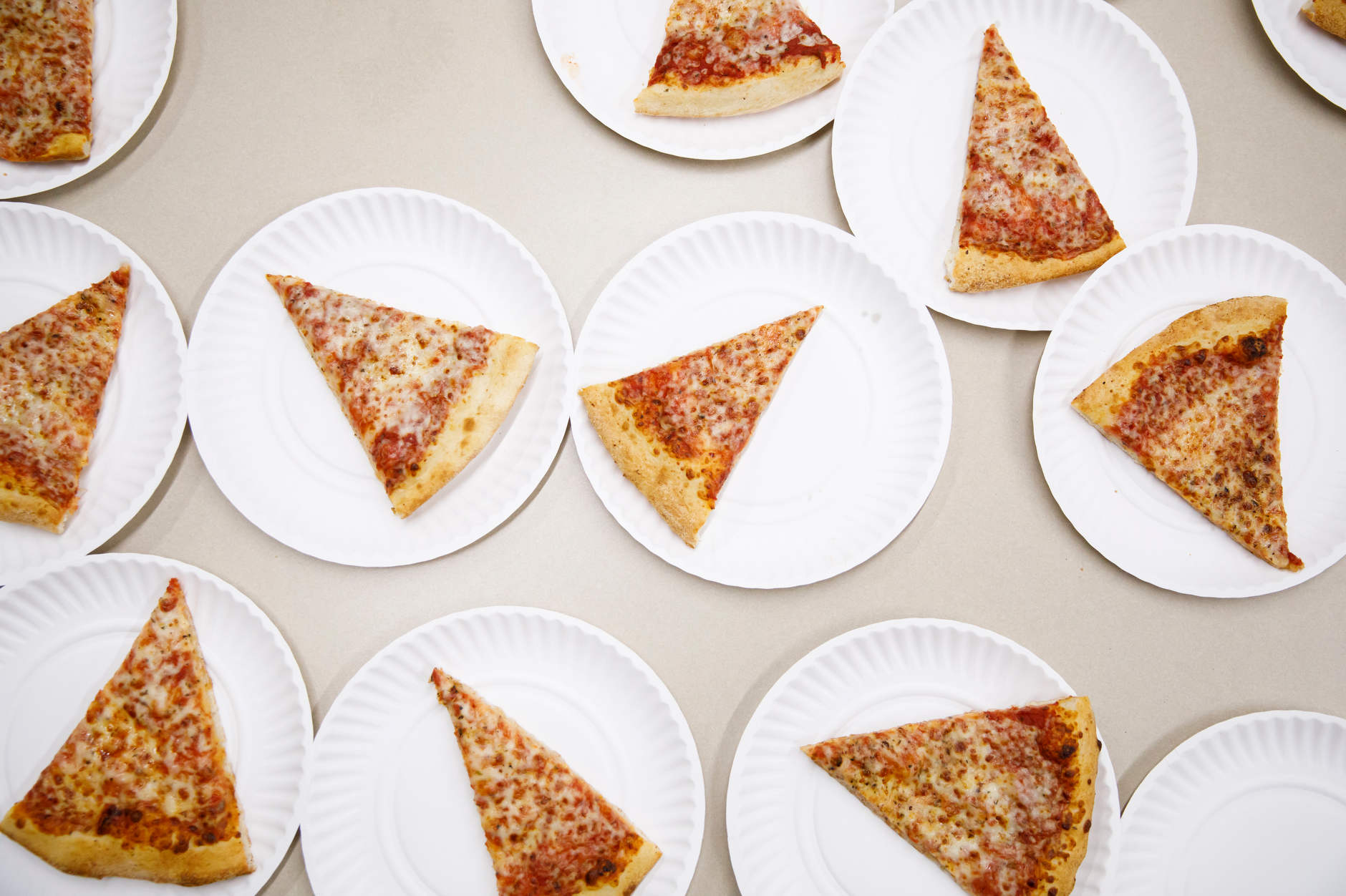 Pizza sits on a table during the Herman B House Party in the Wells Library at IU Bloomington on Thursday, Aug. 22, 2019. (James Brosher/Indiana University)