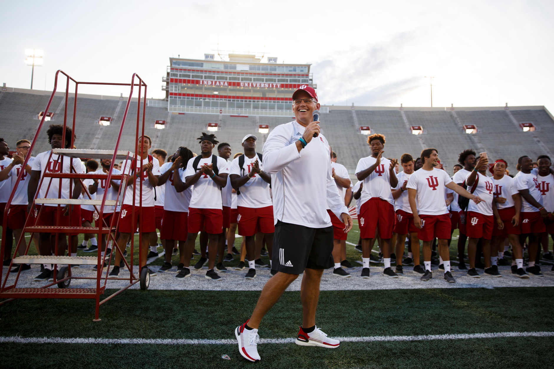 IU Football Coach Tom Allen speaks to the crowd during the Traditions and Spirit of IU at Memorial Stadium on Friday, Aug. 23, 2019. (James Brosher/Indiana University)