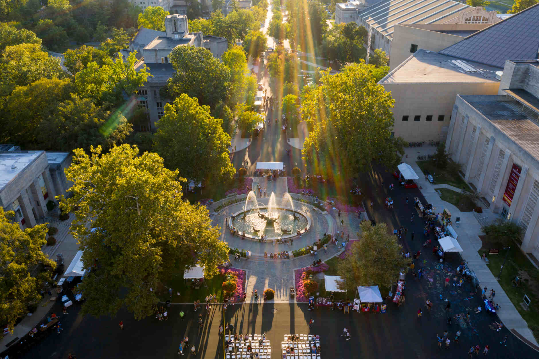 People enjoy a beautiful evening during the First Thursdays Festival on the Arts Plaza at IU Bloomington on Thursday, Sept. 5, 2019. (James Brosher/Indiana University)