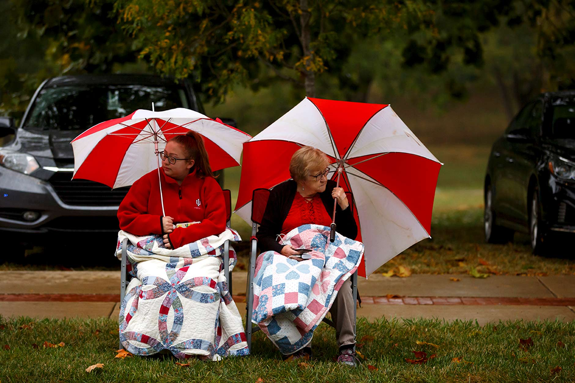 People watch the Indiana University Bloomington Homecoming Parade on Friday, Oct. 11, 2019. (James Brosher/Indiana University)