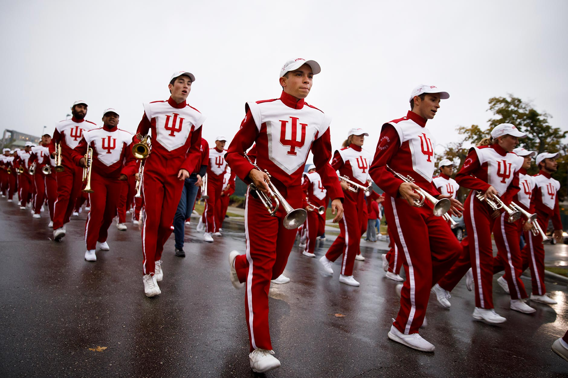 Members of the Indiana University Marching Hundred perform during the IU Bloomington Homecoming Parade on Friday, Oct. 11, 2019. (James Brosher/Indiana University)