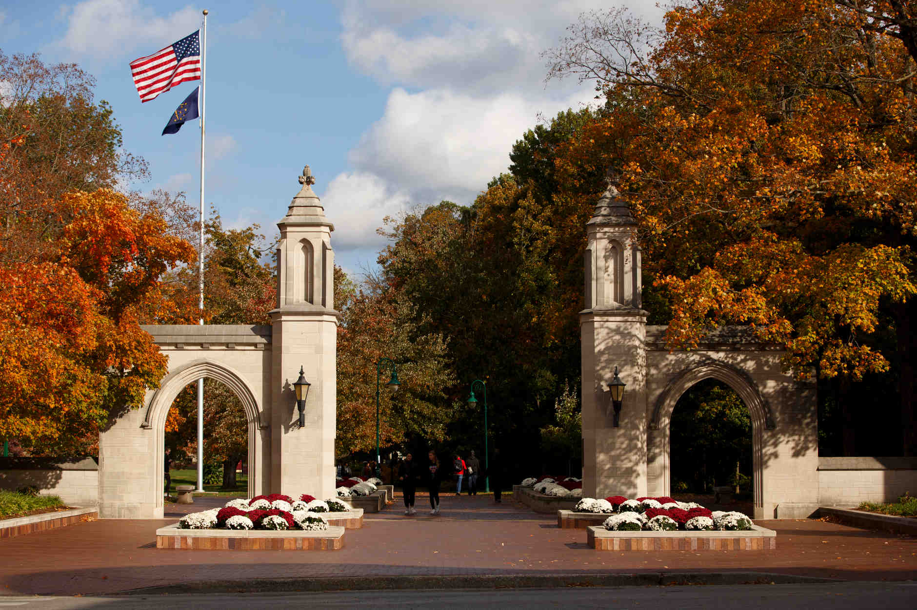 The Sample Gates are pictured on a fall day at IU Bloomington on Tuesday, Oct. 22, 2019. (James Brosher/Indiana University)