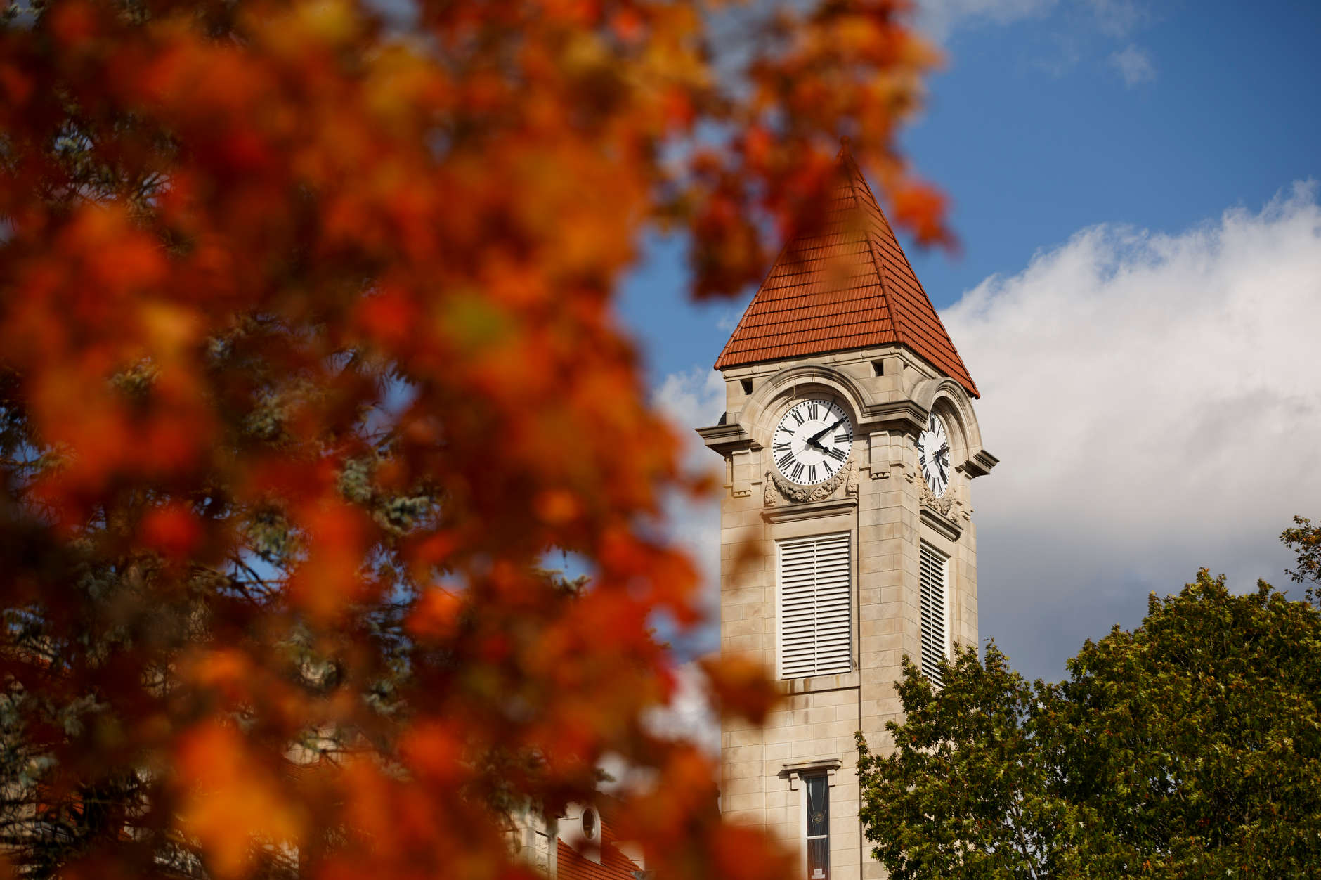 The IU Student Building clock tower is pictured on a fall day at IU Bloomington on Tuesday, Oct. 22, 2019. (James Brosher/Indiana University)