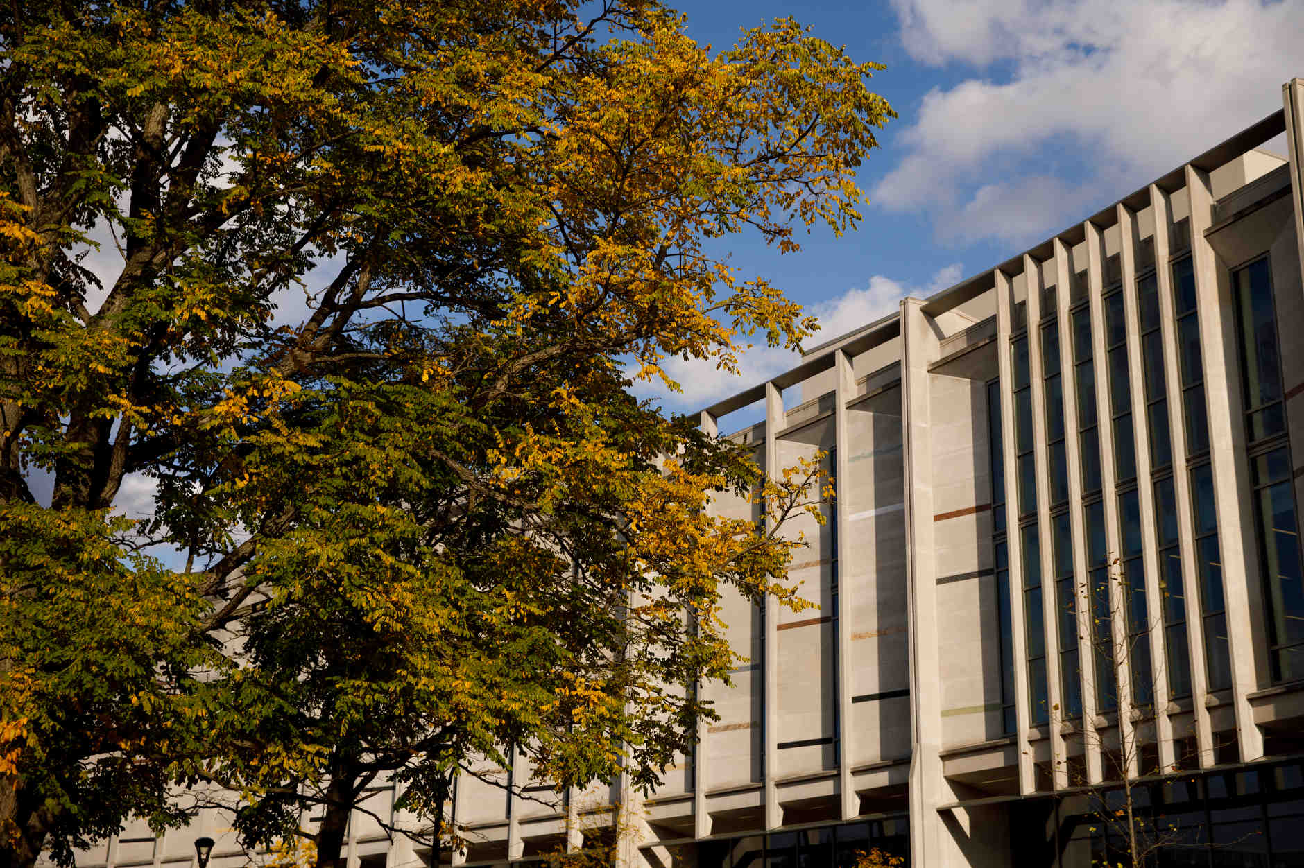 The Hamilton Lugar School of Global and International Studies Building is pictured on a fall day at IU Bloomington on Tuesday, Oct. 22, 2019. (James Brosher/Indiana University)