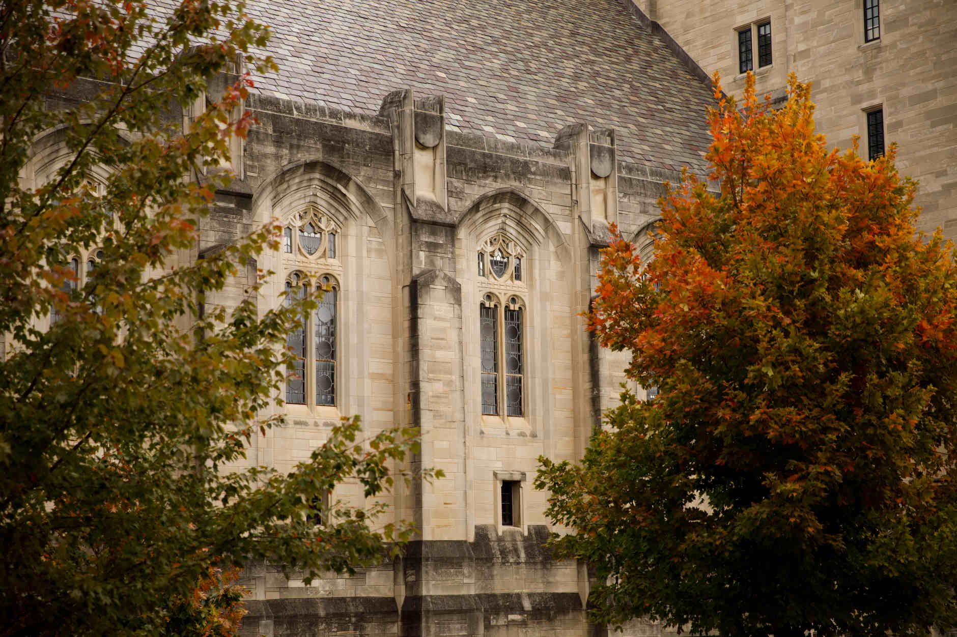 The Indiana Memorial Union is pictured on a fall day at IU Bloomington on Thursday, Oct. 24, 2019. (James Brosher/Indiana University)
