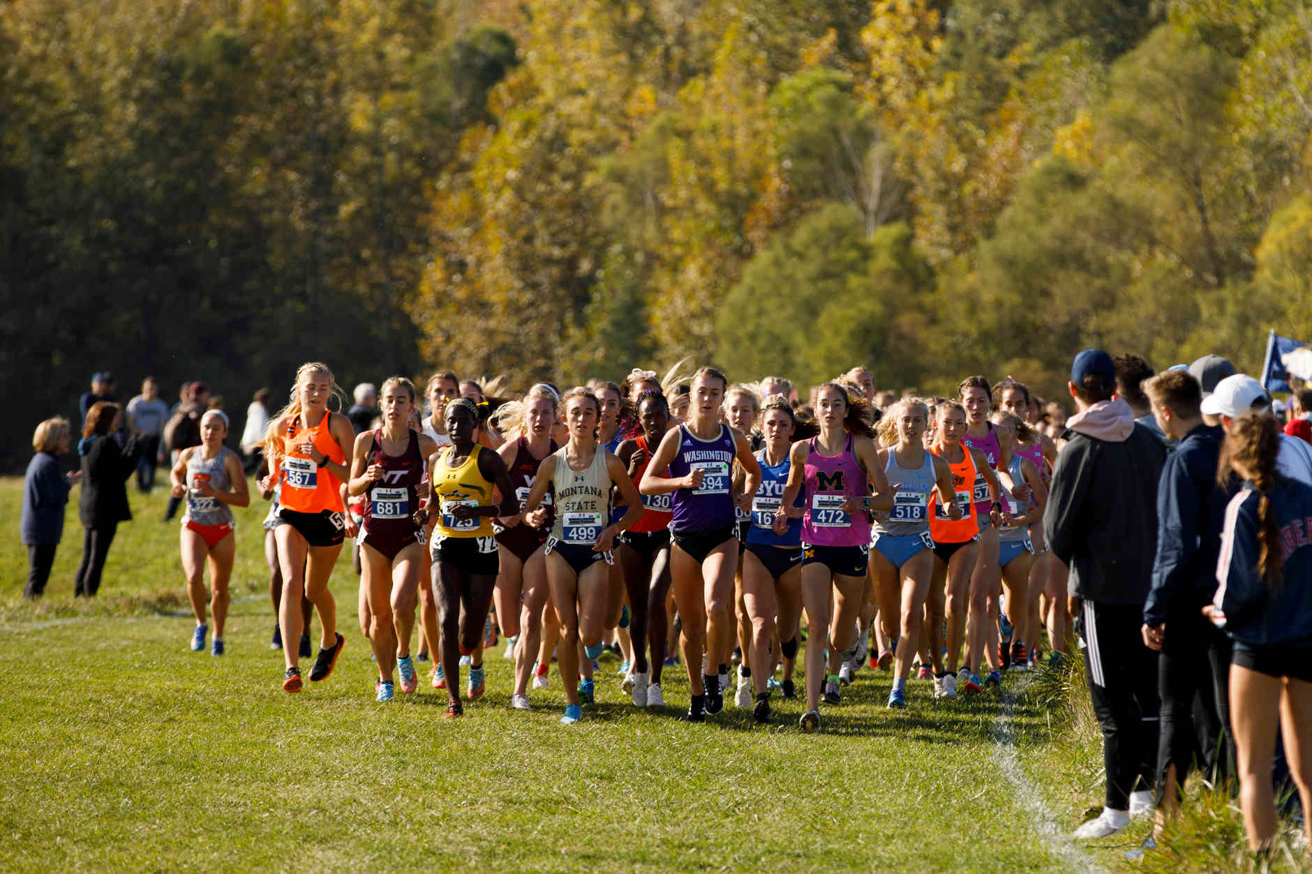 Michigan's Ericka VanderLende (472) leads the pack during the Indiana State Pre-National Cross Country Invitational in Terre Haute, Indiana on Saturday, Oct. 19, 2019. (Photo by James Brosher)