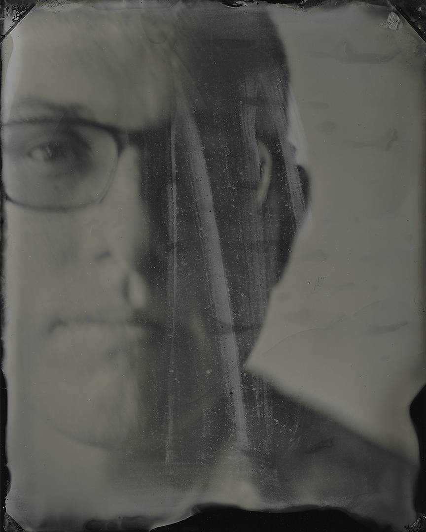 James Brosher is pictured in a self-portrait during a Wet Plate Collodion Workshop at the FAR Center for Contemporary Arts in Bloomington, Indiana on Thursday, Oct. 31, 2019. (Photo by James Brosher)
