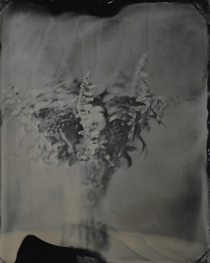 A bouquet of flowers is pictured during a Wet Plate Collodion Workshop at the FAR Center for Contemporary Arts in Bloomington, Indiana on Thursday, Oct. 31, 2019. (Photo by James Brosher)