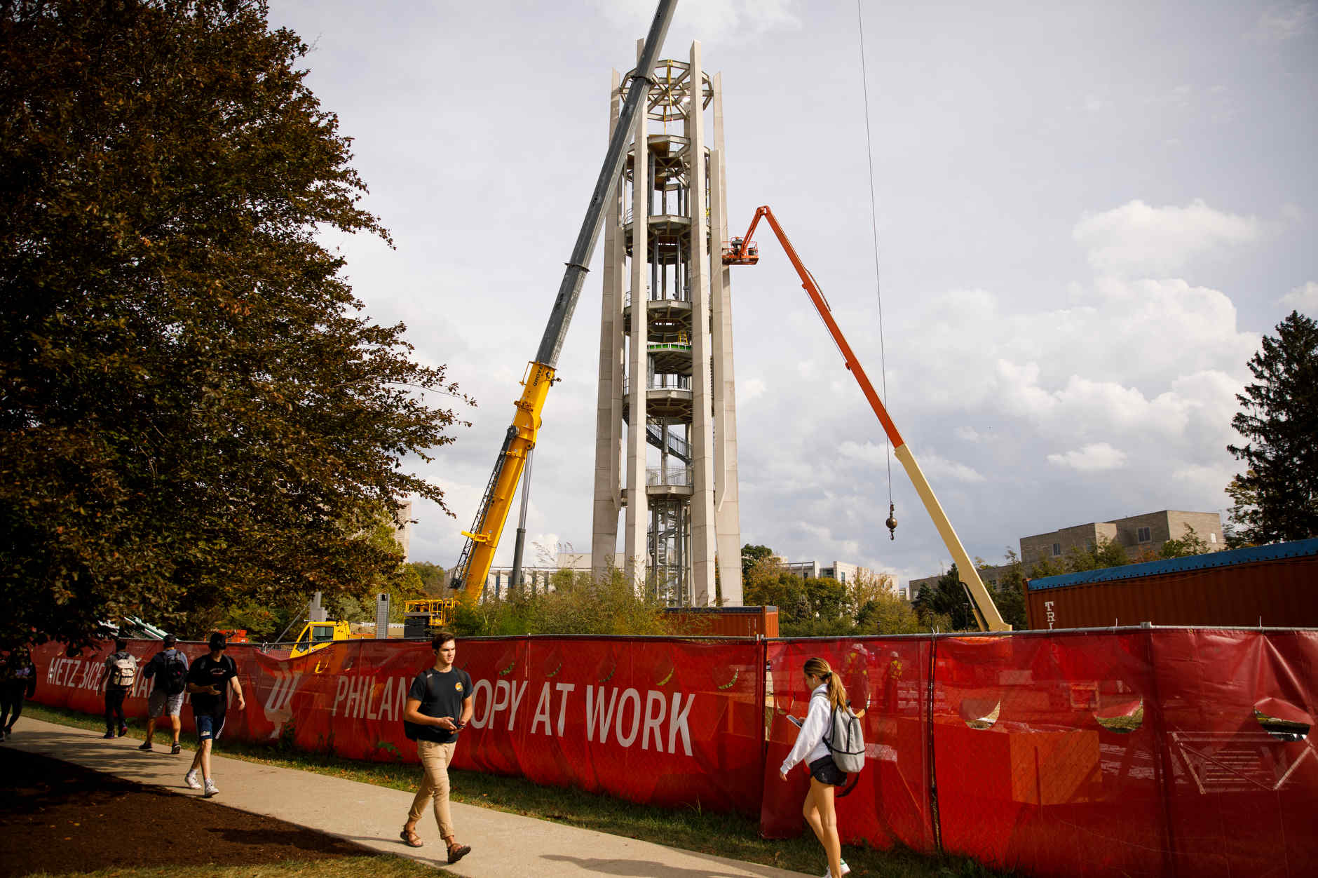 Construction continues on the Arthur R. Metz Bicentennial Grand Carillon in the Arboretum at IU Bloomington on Thursday, Oct. 10, 2019. (James Brosher/Indiana University)