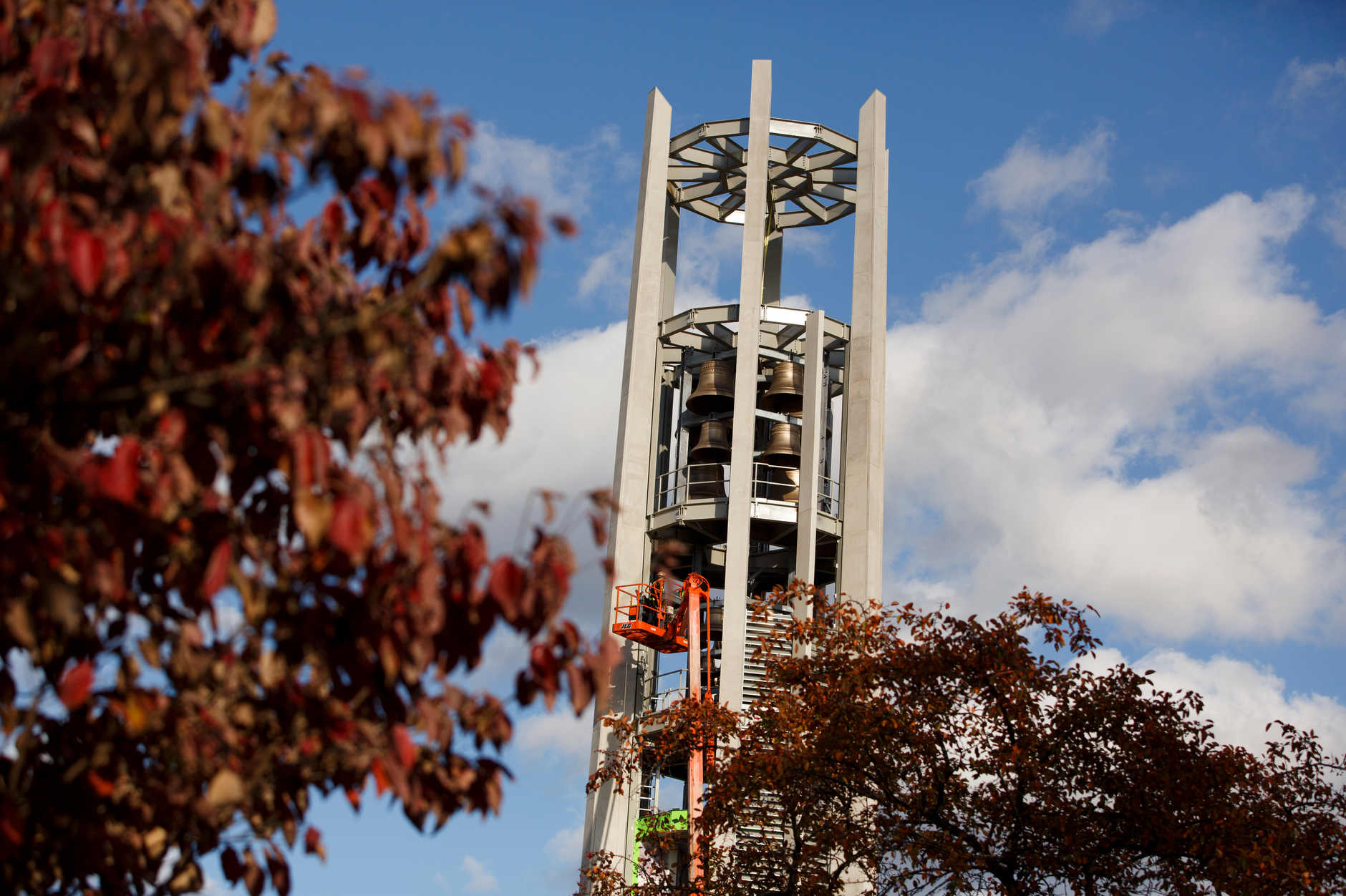 Work continues on the Arthur R. Metz Bicentennial Grand Carillon in the Arboretum at IU Bloomington on Tuesday, Oct. 22, 2019. (James Brosher/Indiana University)