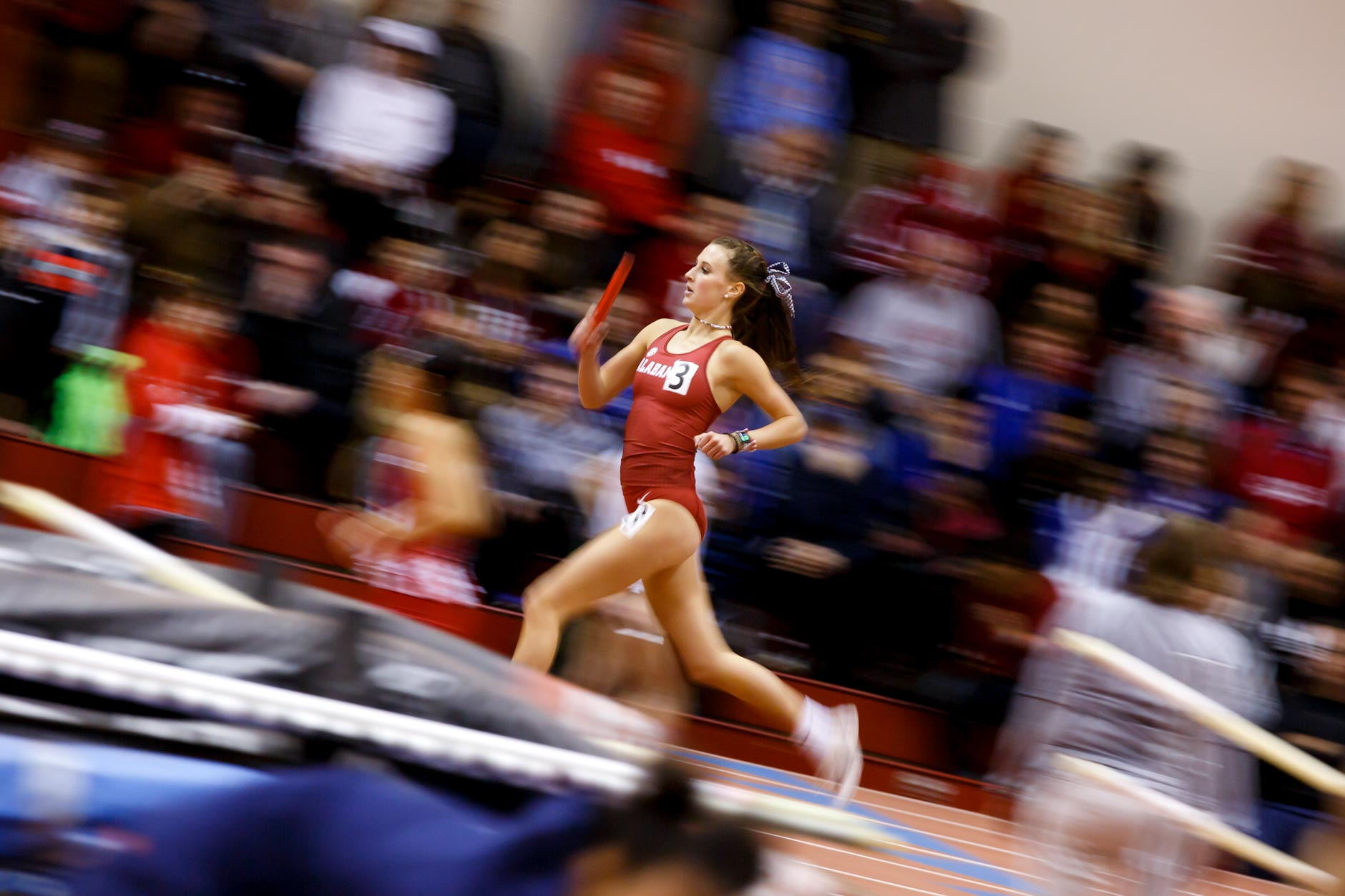 Alabama's Jami Reed competes in the distance medley during the Indiana University Relays in Bloomington, Indiana on Friday, Jan. 31, 2020. (Photo by James Brosher)