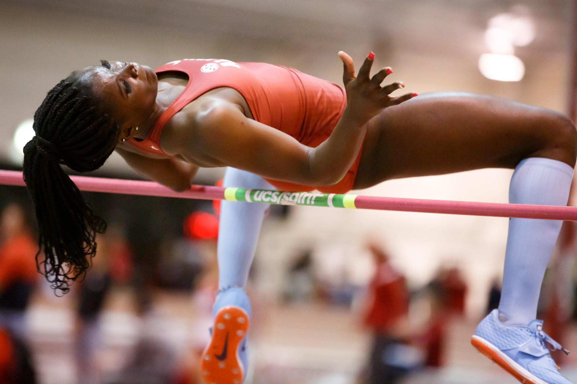 Alabama's Abigail Kwarteng competes in the high jump during the Indiana University Relays in Bloomington, Indiana on Friday, Jan. 31, 2020. (Photo by James Brosher)