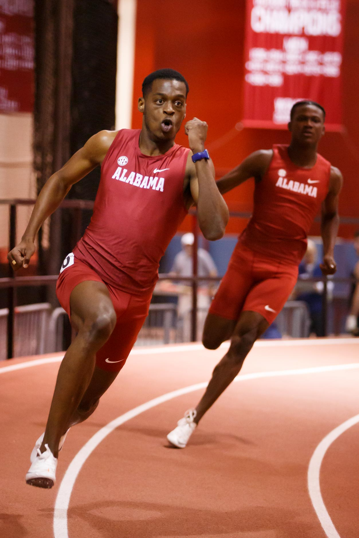 Alabama's Joshua St. Clair competes in the 200 meter dash during the Indiana University Relays in Bloomington, Indiana on Friday, Jan. 31, 2020. (Photo by James Brosher)