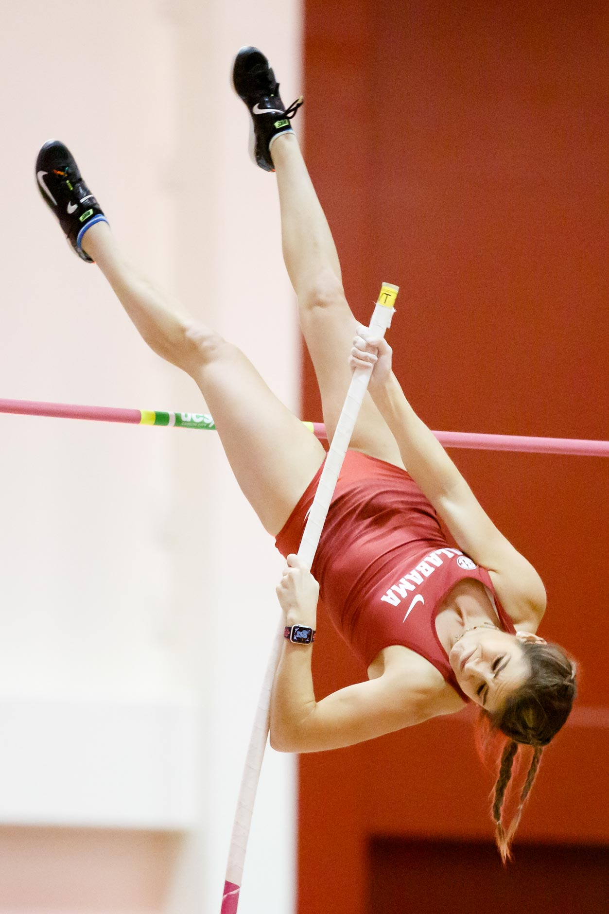 Alabama's Kayla Cecil competes in the pole vault during the Indiana University Relays in Bloomington, Indiana on Saturday, Feb. 1, 2020. (Photo by James Brosher)
