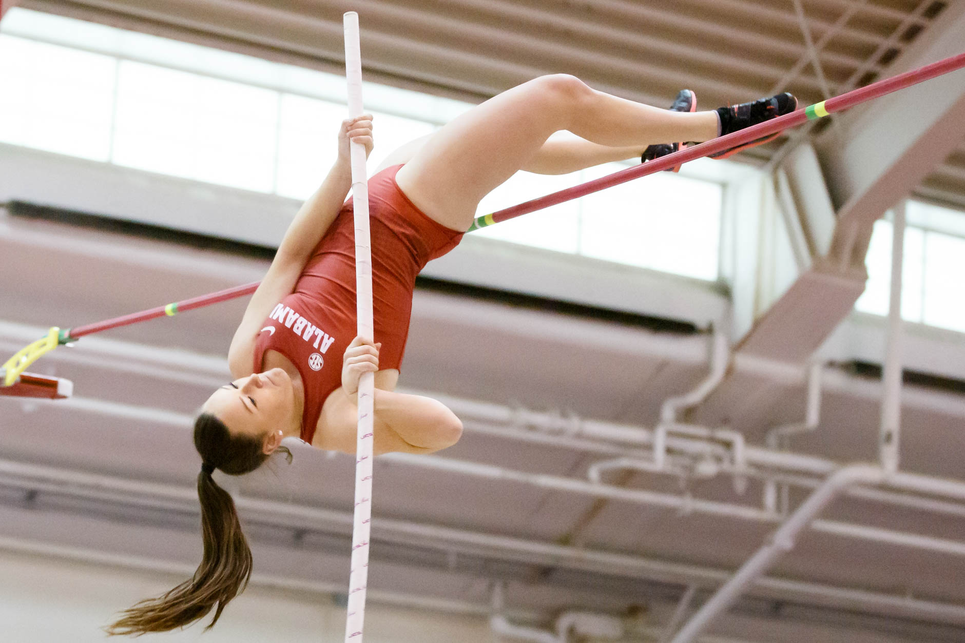 Alabama's Taylor Pickett competes in the pole vault during the Indiana University Relays in Bloomington, Indiana on Saturday, Feb. 1, 2020. (Photo by James Brosher)
