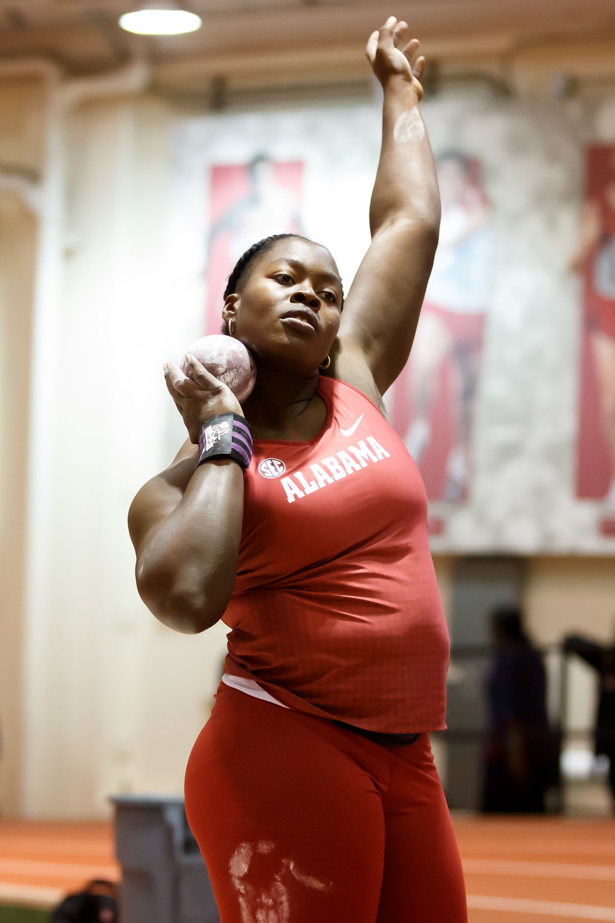 Alabama's Cherisse Murray competes in the shot put during the Indiana University Relays in Bloomington, Indiana on Saturday, Feb. 1, 2020. (Photo by James Brosher)