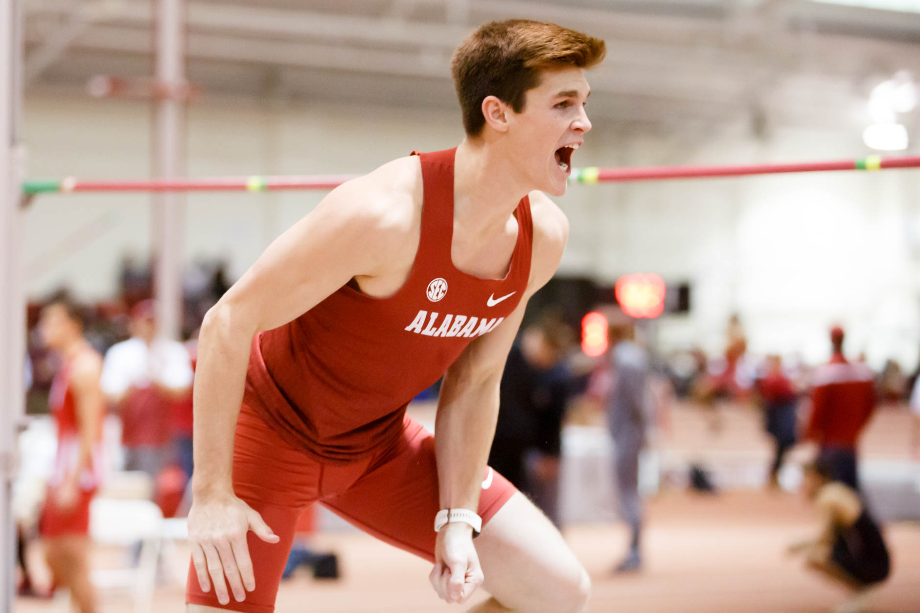 Alabama's Jake Spotswood reacts after clearing 7 feet in the high jump during the Indiana University Relays in Bloomington, Indiana on Saturday, Feb. 1, 2020. (Photo by James Brosher)