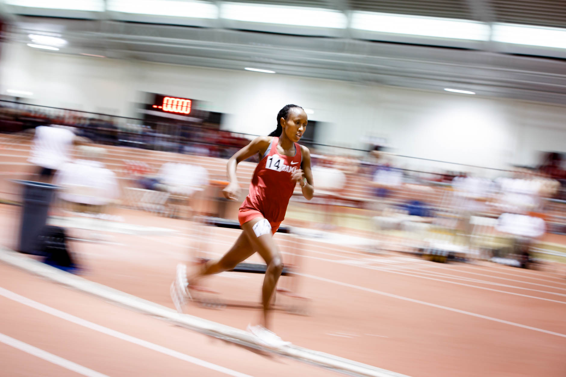 Alabama's Mercy Chelangat competes in the 3000 meter run during the Indiana University Relays in Bloomington, Indiana on Saturday, Feb. 1, 2020. (Photo by James Brosher)