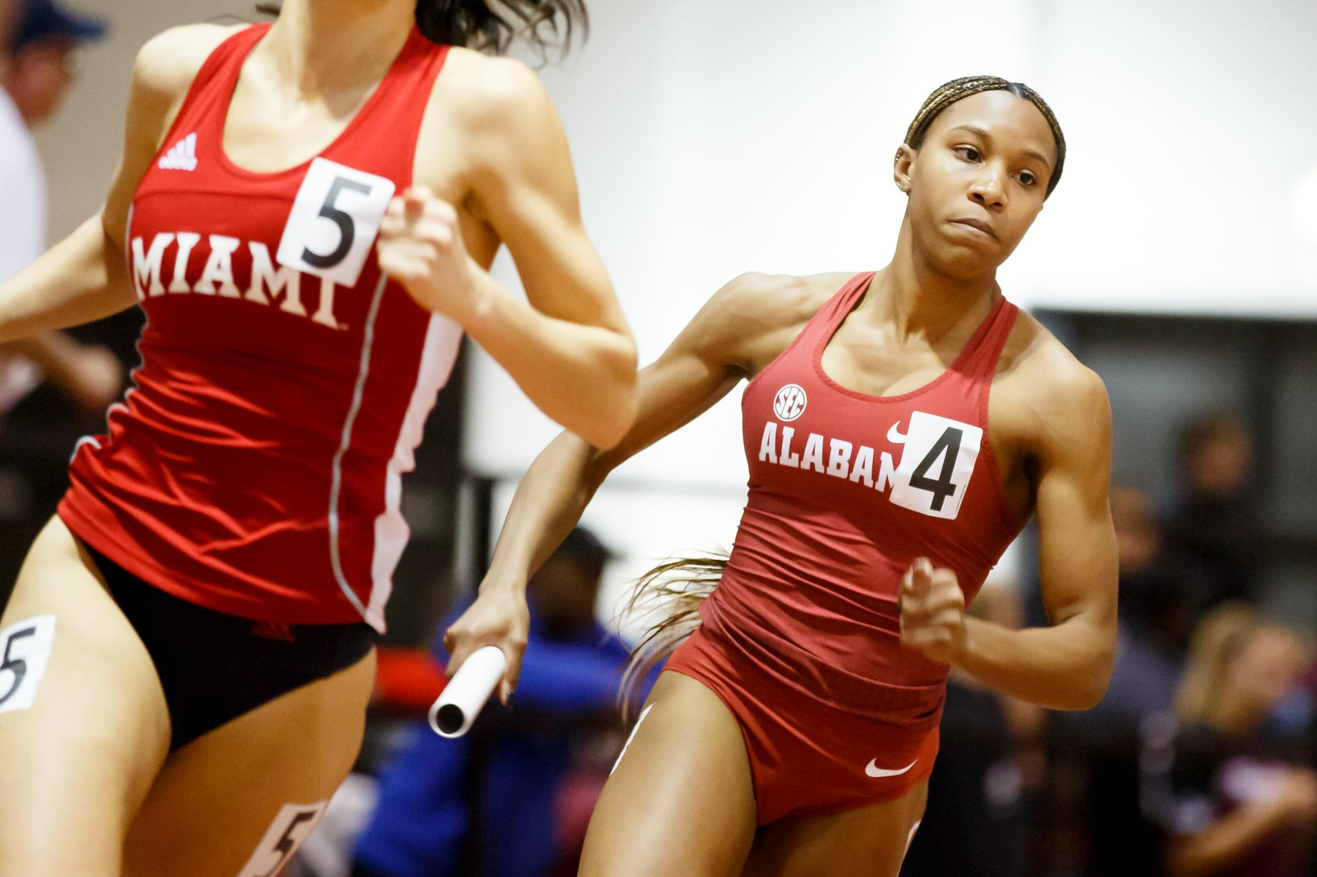 Alabama's D'Jai Baker competes in the 4x400 meter relay during the Indiana University Relays in Bloomington, Indiana on Saturday, Feb. 1, 2020. (Photo by James Brosher)