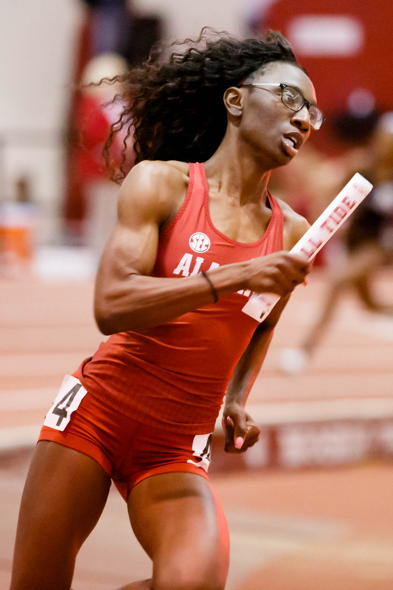 Alabama's Tamara Clark competes in the 4x400 meter relay during the Indiana University Relays in Bloomington, Indiana on Saturday, Feb. 1, 2020. (Photo by James Brosher)