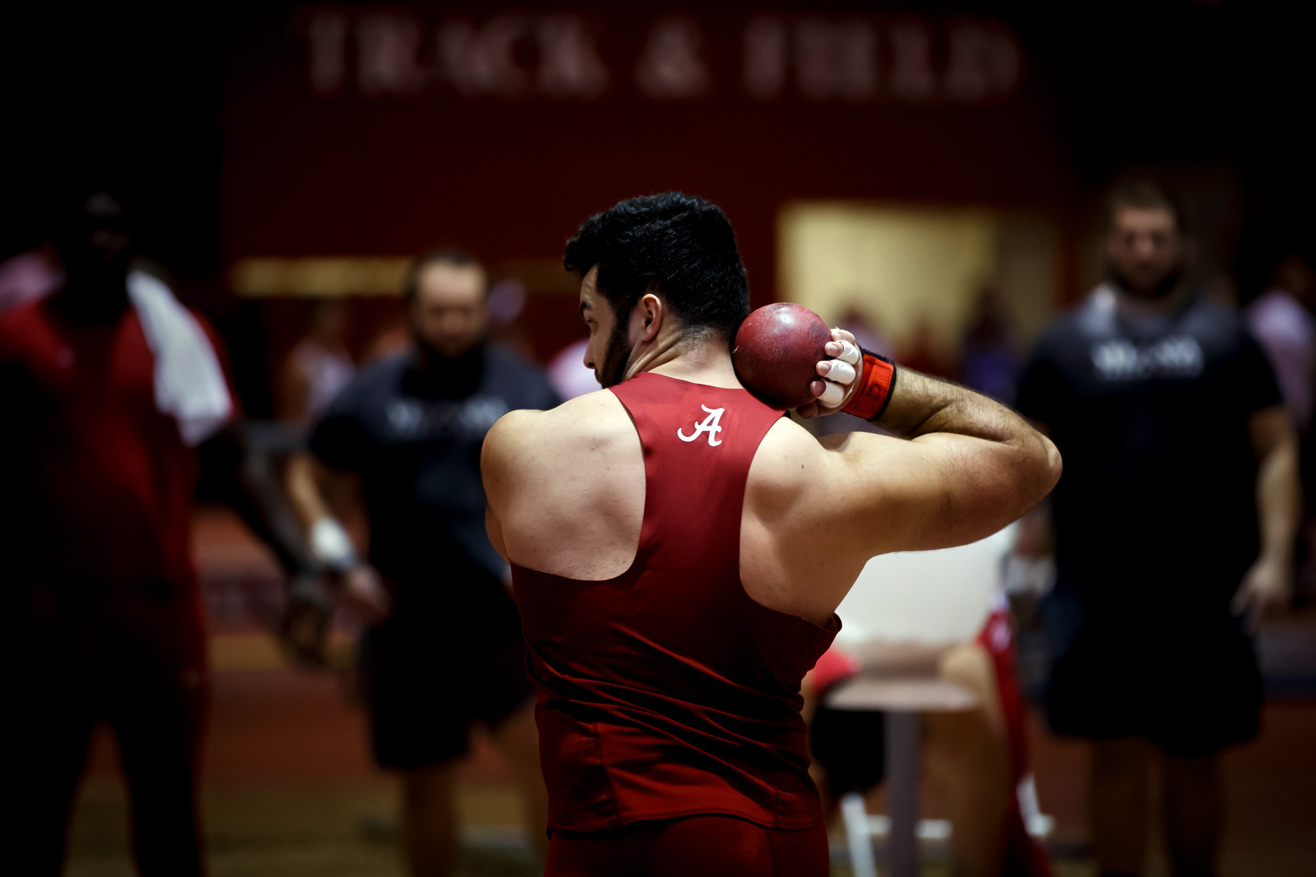 Alabama's Chago Basso competes in the shot put during the Indiana University Relays in Bloomington, Indiana on Saturday, Feb. 1, 2020. (Photo by James Brosher)