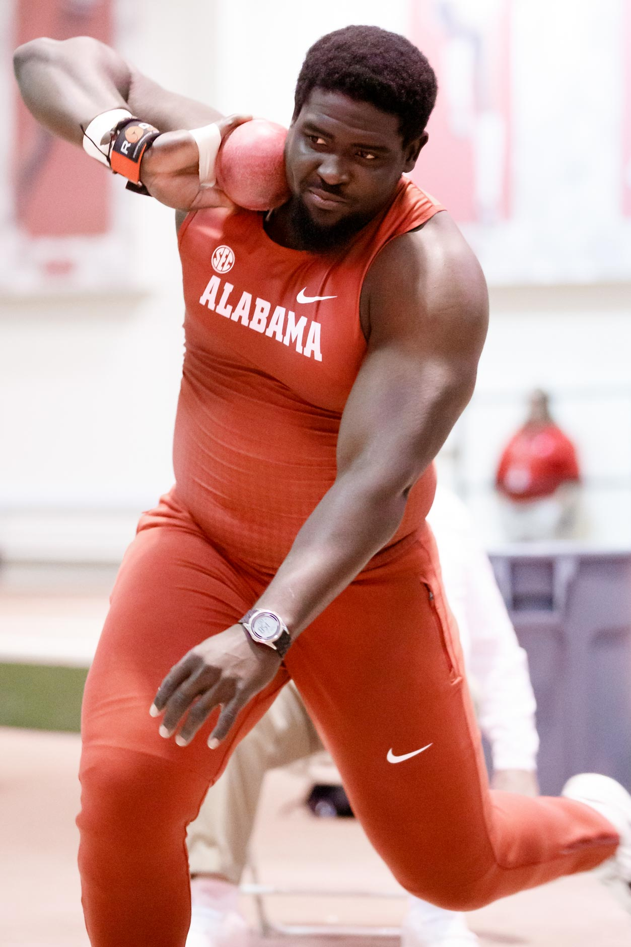 Alabama's Isaac Odugbesan competes in the shot put during the Indiana University Relays in Bloomington, Indiana on Saturday, Feb. 1, 2020. (Photo by James Brosher)