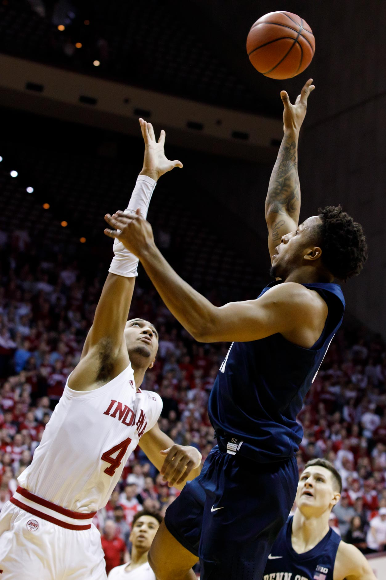 Penn State's Lamar Stevens (11) shoots over Indiana's Trayce Jackson-Davis (4) during a NCAA men's basketball game at Simon Skjodt Assembly Hall in Bloomington, Indiana on Sunday, Feb. 23, 2020. (Photo by James Brosher)
