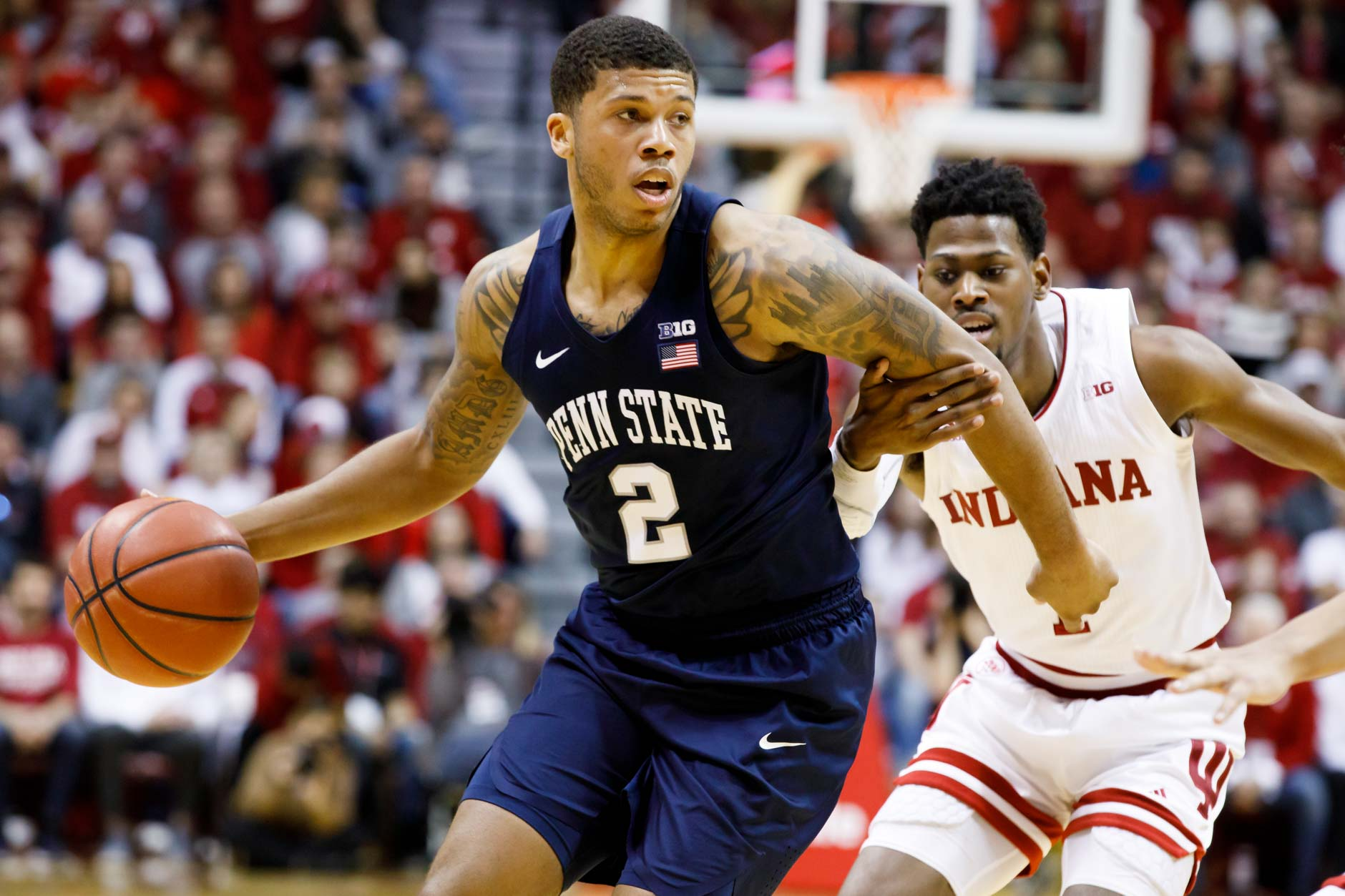 Penn State's Myles Dread (2) works past Indiana's Aljami Durham (1) during a NCAA men's basketball game at Simon Skjodt Assembly Hall in Bloomington, Indiana on Sunday, Feb. 23, 2020. (Photo by James Brosher)