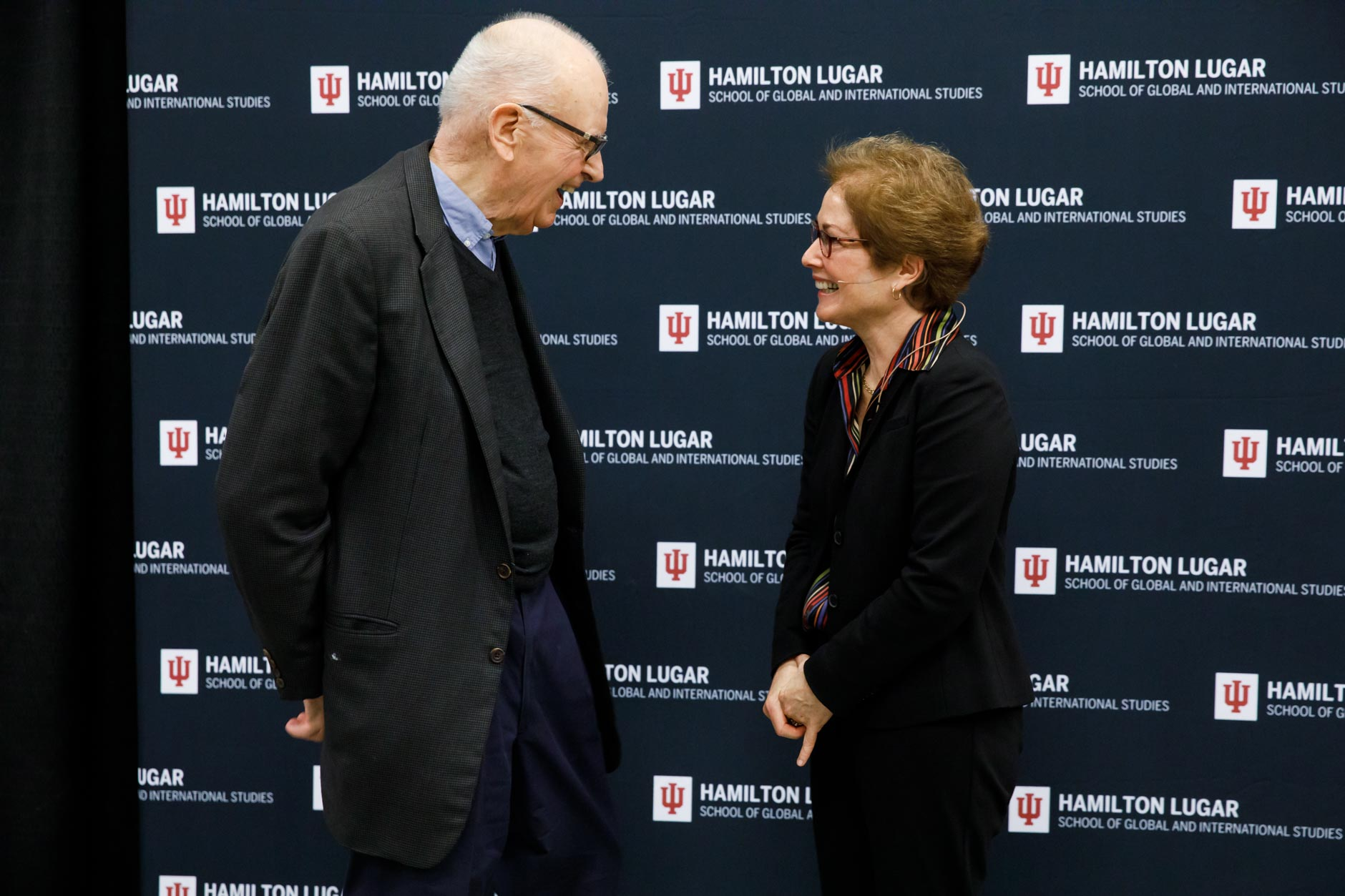 Former U.S. Rep. Lee H. Hamilton, Director of The Center on Congress at Indiana University, speaks with former U.S. Ambassador to Ukraine Marie Yovanovitch during the America's Role in the World Conference at IU Bloomington on Friday, March 6, 2020. (James Brosher/Indiana University)