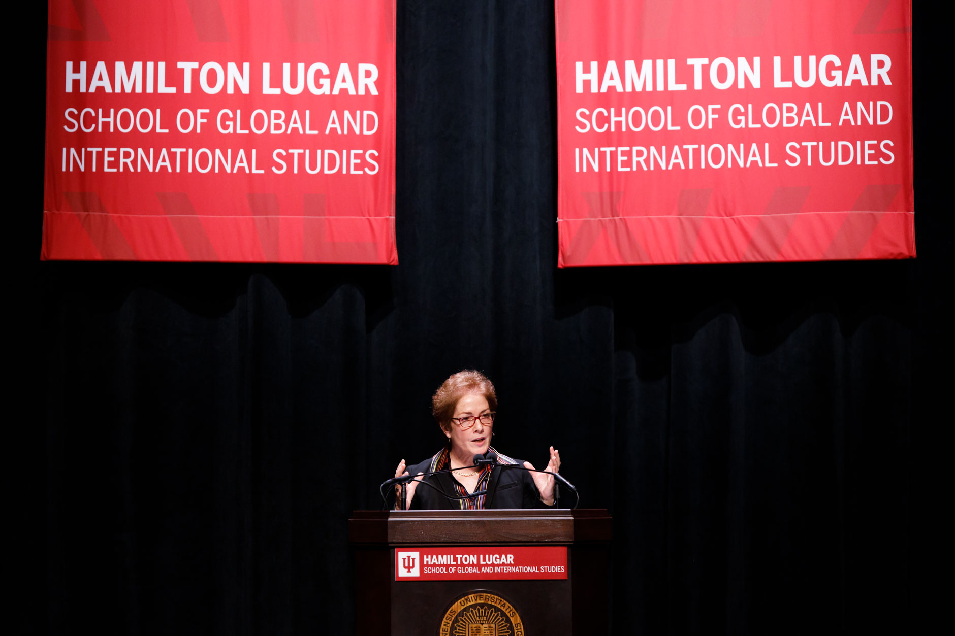 Former U.S. Ambassador to Ukraine Marie Yovanovitch speaks during the America's Role in the World Conference at IU Bloomington on Friday, March 6, 2020. (James Brosher/Indiana University)