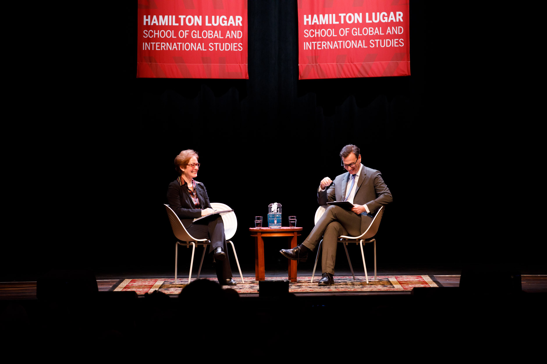 Former U.S. Ambassador to Ukraine Marie Yovanovitch speaks with Indiana University Hamilton Lugar School of Global and International Studies Dean Lee A. Feinstein during the America's Role in the World Conference at IU Bloomington on Friday, March 6, 2020. (James Brosher/Indiana University)