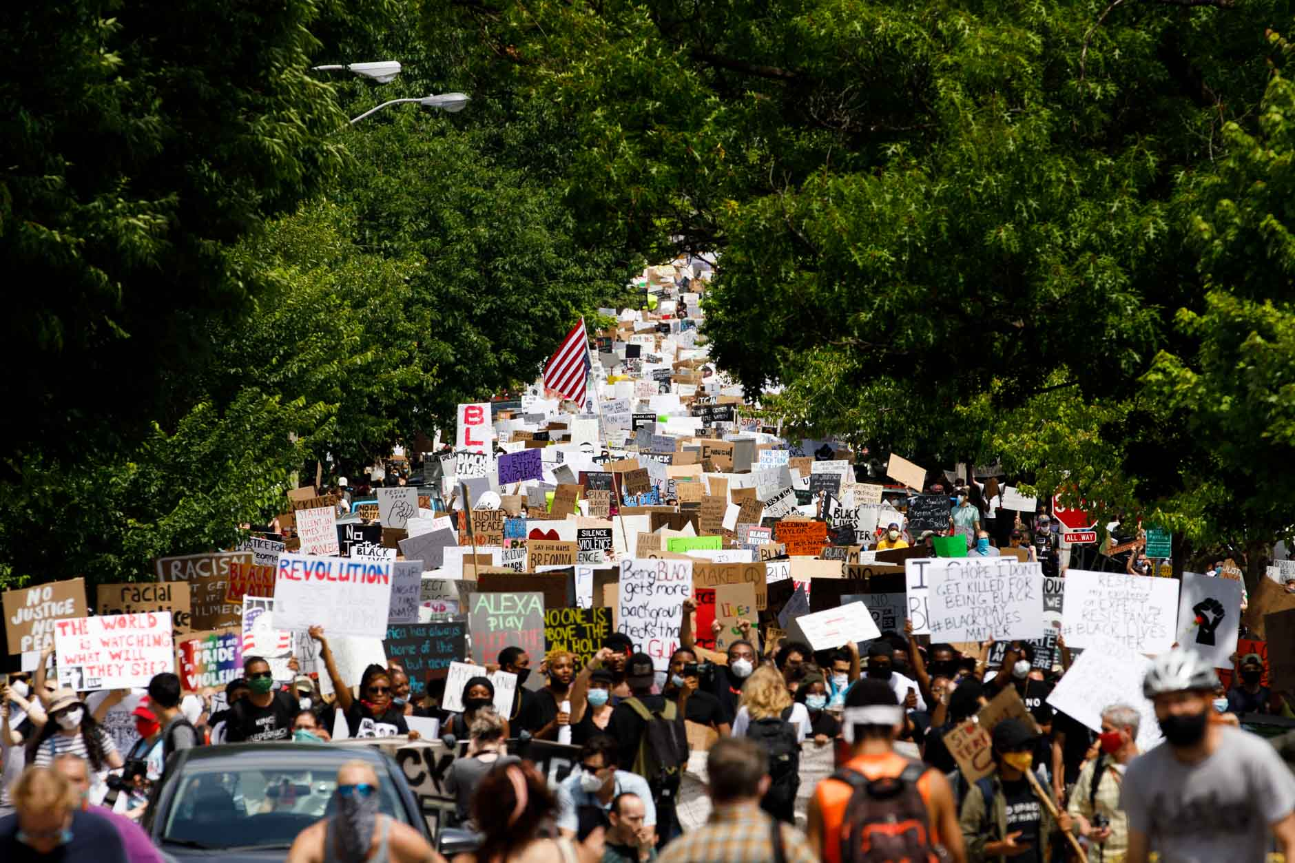 Hundreds march peacefully against police brutality along Seventh Street from Dunn Meadow at Indiana University Bloomington to the Monroe County Courthouse square on Friday, June 5, 2020. (James Brosher/Indiana University)