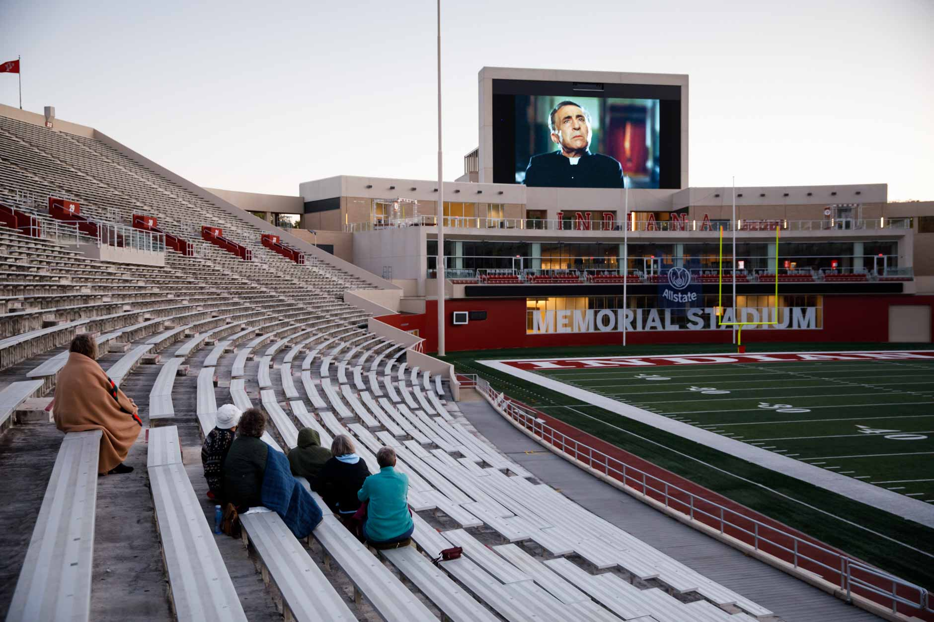 "Audience members watch a socially-distant screening of ""Cinema Paradiso"" from the stands in Memorial Stadium at IU Bloomington on Tuesday, Sept. 29, 2020. (James Brosher/Indiana University)"