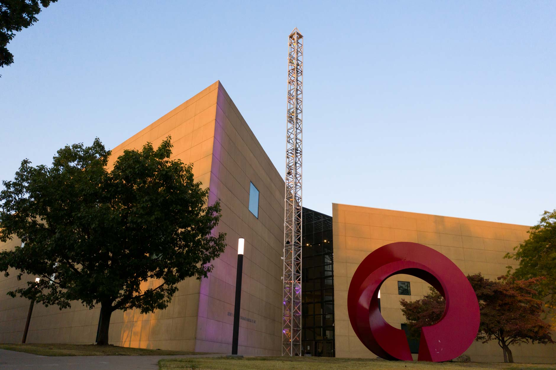 The Eskenazi Museum of Art at Indiana University is pictured on a fall evening on Tuesday, Oct. 6, 2020. Architect I.M. Pei designed the building. (James Brosher/Indiana University)