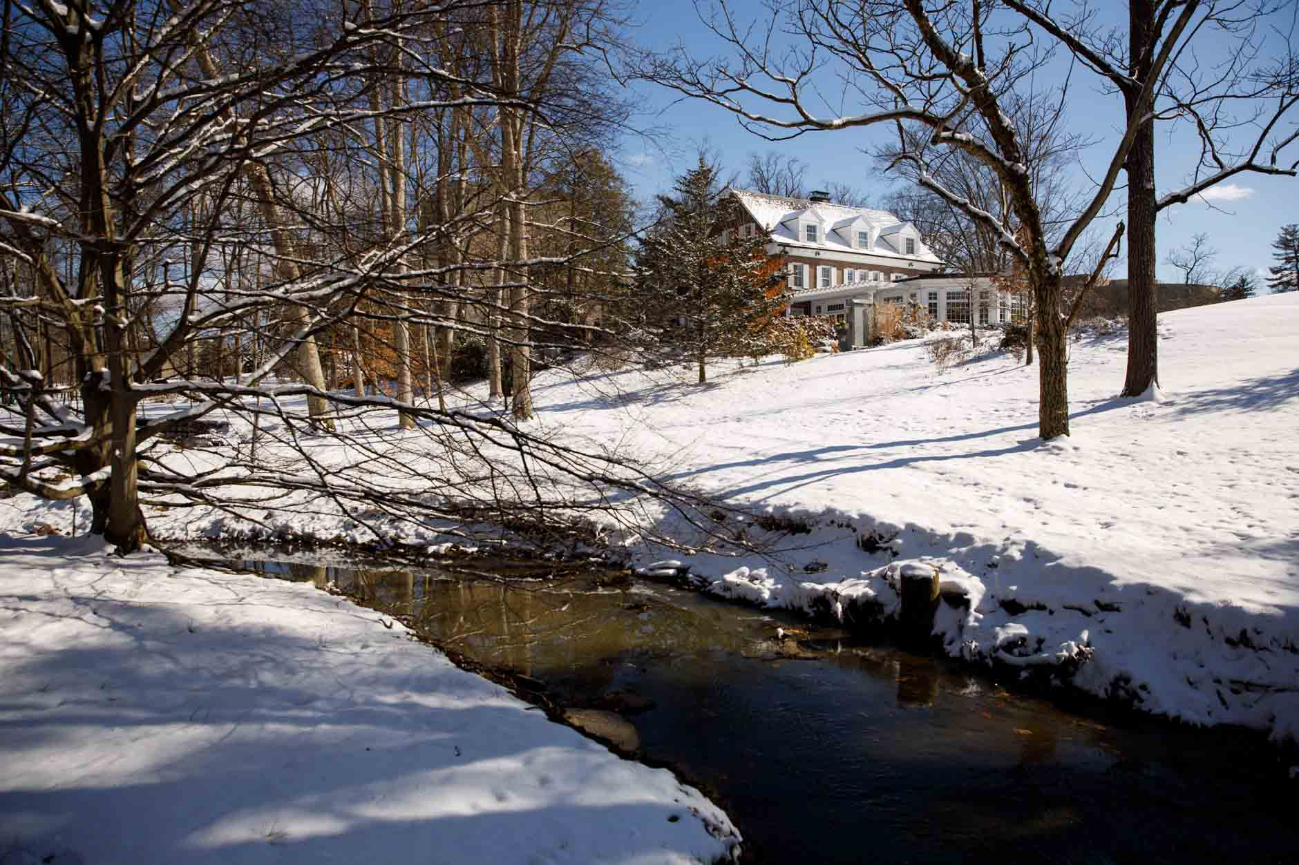 The Campus River flows through campus near Bryan House on a winter day at Indiana University Bloomington on Thursday, Jan. 28, 2021. (James Brosher/Indiana University)