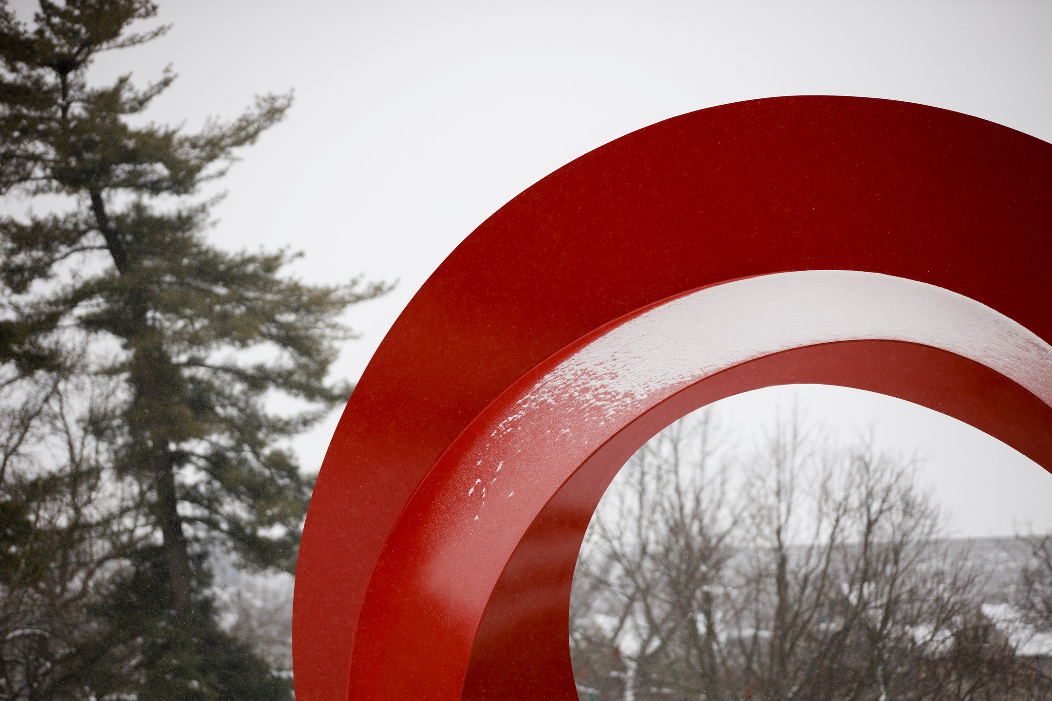 Snow clings to the Indiana Arc sculpture outside the Eskenazi Museum of Art on a winter day at Indiana University Bloomington on Wednesday, Feb. 10, 2021.